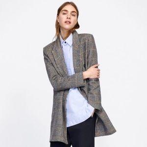 Zara Grey & Tan Plaid Coat